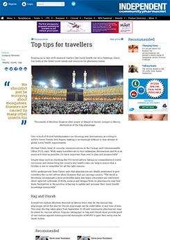 'Top Tips for Travellers' by Dawn Gay - Independent Pharmacist